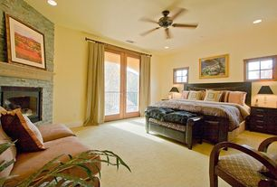 Modern Guest Bedroom with Carpet, Ceiling fan, French doors
