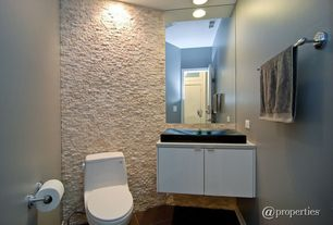 Contemporary Powder Room with can lights, Frameless, drop-in sink, flat door, European Cabinets, Standard height, Powder room