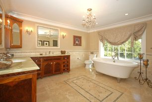 Traditional 3/4 Bathroom with Frameless, Wall sconce, Subway Tile, Undermount sink, Complex marble counters, Crown molding