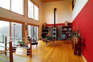 Contemporary Living Room with High ceiling, Built-in bookshelf, Hardwood floors, Crown molding