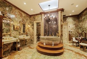 Eclectic Master Bathroom with Green Onyx Bathtub BT-024A-GO, High ceiling, Chandelier, Master bathroom, Skylight, Wall sconce