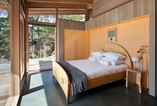Contemporary Master Bedroom with Standard height, French doors, Exposed beam, Transom window, can lights, picture window