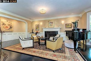 Traditional Living Room with can lights, flush light, Hardwood floors, Wall sconce, metal fireplace, Standard height