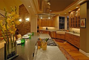 Country Kitchen with Glass panel, Breakfast bar, Island Hood, Columns, Standard height, Paint, Limestone Tile, Stone Tile