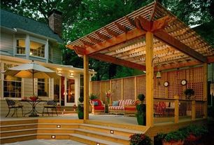 Craftsman Deck with Breeze Cedar 12 ft. x 20 ft. Pergola, The Tool Workshop 4' x 8' Privacy Cedar Lattice Panel, Trellis