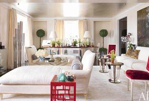 Traditional Living Room with Concrete floors, Emery linen/cotton drape - ivory, Pendant light, Crown molding