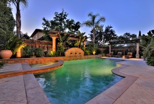 Tropical Swimming Pool with Pool with hot tub, Fence, exterior tile floors, Fountain, Trellis
