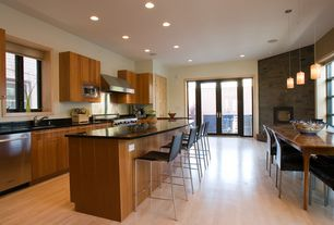 Contemporary Kitchen with One-wall, partial backsplash, dishwasher, French doors, Undermount sink, Pendant light, Casement