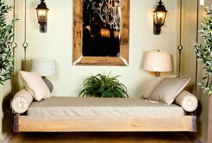 Contemporary Guest Bedroom with Hardwood floors, Wall sconce
