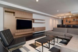 Modern Basement with Hardwood floors, Bryght - Myron Black Square Coffee Table, Nuevo Madrid Lounge Chair, Built-in bookshelf