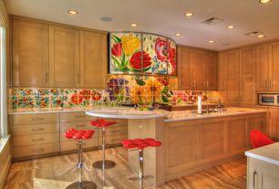 Contemporary Kitchen with sandstone tile floors, European Cabinets, full backsplash, stone tile floors, Wall Hood, U-shaped