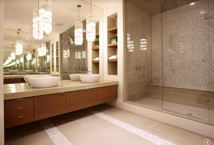 Modern Master Bathroom with Double sink, Vessel sink, Handheld showerhead, Corian counters, Pendant light, Standard height