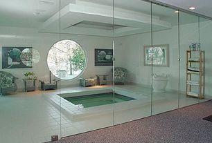 Modern Hot Tub with Simple living bamboo 5-tier shelf, Outdoor wicker ottoman, Veranda chair