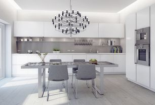 Contemporary Kitchen with Flos gino sarfatti chandelier 2097, Amtico wood 9x36  ar0w7680 white wash wood, Flush, French doors