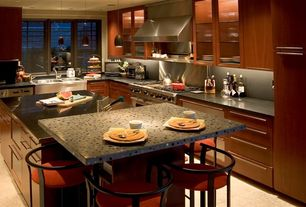 Contemporary Kitchen with Flush, L-shaped, Glass panel, Soapstone counters, Kitchen island, Soapstone, European Cabinets