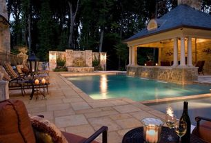 Swimming Pool with Fountain, exterior stone floors, Gazebo, Pathway, Pool with hot tub