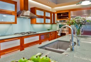 Contemporary Kitchen with flush light, KitchenCraft Mullion Doors & Inserts Tranlucent Glass Cabinet Insert, Flush, U-shaped