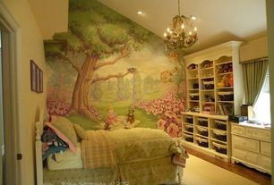 Traditional Kids Bedroom with Mural, Chandelier, Built-in bookshelf, no bedroom feature, can lights, picture window