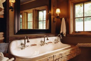 Eclectic Master Bathroom with Crown molding, Hardwood floors, Wood counters, Wall sconce, Kohler Brockway Soap Dish