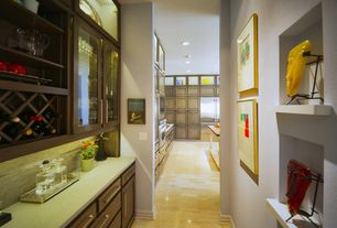 Contemporary Hallway with Built-in bookshelf, Laminate floors