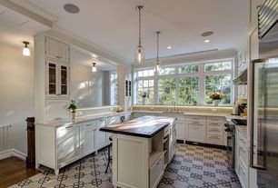 Traditional Kitchen with Flush, Wood counters, Stone Tile, Pendant light, Breakfast bar, flush light, U-shaped, Mexican tile