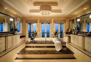 Traditional Master Bathroom with French doors, Inset cabinets, Crown molding, Chandelier, Master bathroom, Raised panel, Onyx