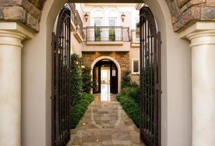 Mediterranean Front Door with exterior tile floors, Gate