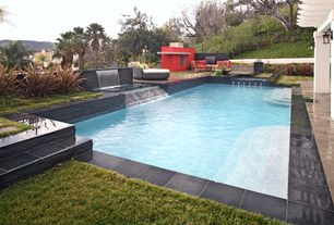 Contemporary Swimming Pool with Raised beds, Lap pool, Fountain, exterior stone floors, Fence, Trellis