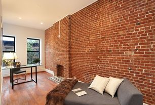 Contemporary Home Office with Standard height, Hardwood floors, Fireplace, brick fireplace, double-hung window, can lights