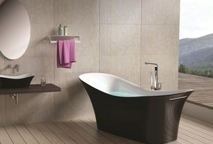 Modern Master Bathroom with Floor mount tub filler, Freestanding solid surface bathtub