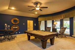 Traditional Game Room with Cooper classics berkley wall mirror - 34 diam. in., Cuetec R-360 Edge Stained Pool Cue, Carpet