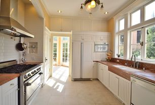 """Cottage Kitchen with Built In Panel Ready Refrigerator, Paint 2, Viking vgcc5304bss 30"""" range, wall oven, Multiple Sinks"""