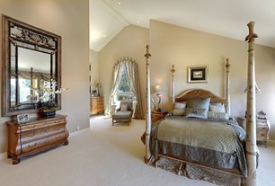 Traditional Master Bedroom with Exposed beam, Arched window, can lights, Standard height, Carpet