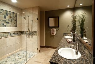 Contemporary Master Bathroom with frameless showerdoor, Master bathroom, Shower, limestone tile floors, can lights, Paint