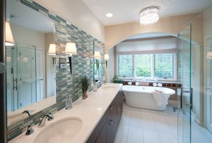 Contemporary Full Bathroom with Master bathroom, Quartz countertop, Corian- Designer White, Undermount sink, Double sink