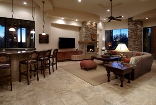 Contemporary Great Room with Sunpan Citizen Counter Stool, sandstone tile floors, stone fireplace, tv wall mount, Ceiling fan