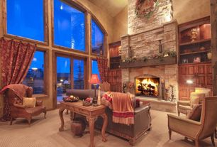 Rustic Living Room with Fireplace, stone fireplace, Restoration hardware- new english upholstered club chair, picture window