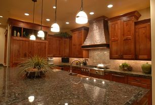Rustic Kitchen with Custom hood, Pendant light, Farmhouse sink, Simple granite counters, L-shaped, Flat panel cabinets, Flush