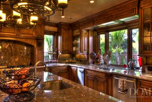 Traditional Kitchen with 3 in. Granite Countertop in Tan Brown, Complex granite counters, Chandelier, Complex Granite
