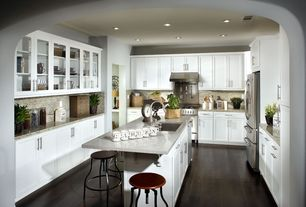 Modern Kitchen with Simple granite counters, Anthropologie - monogram mug, gas range, full backsplash, Undermount sink, Paint