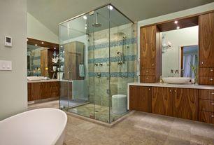 Contemporary Master Bathroom with Flush, Freestanding, Daltile Glass Horizons Atlantic Blend Mosaic Tile, Chandelier