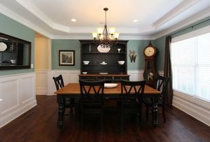 Traditional Dining Room with Hardwood floors, Crown molding, Wainscotting, Chandelier