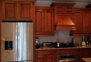 Traditional Kitchen with Multiple Refrigerators, Complex granite counters, One-wall, Raised panel, electric cooktop, Flush