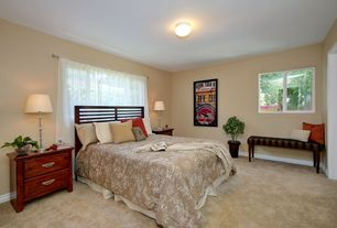 Traditional Master Bedroom with Carpet, flush light