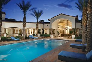 Mediterranean Swimming Pool with French doors, Transom window, Fountain, Lap pool, Casement, picture window, Pathway