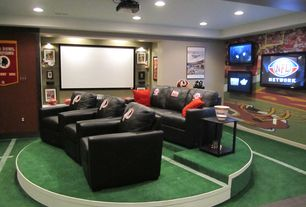Contemporary Man Cave with Carpet, Standard height, can lights