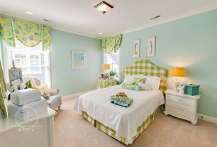 Tropical Guest Bedroom with can lights, Crown molding, Carpet, double-hung window, Standard height, flush light