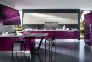 Contemporary Kitchen with Corian counters, Undermount sink, 014 acrylic barstool, European Cabinets, Breakfast bar, Flush