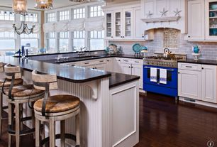 "Cottage Kitchen with Granite countertop, Fireclay Tile Nickel 2 x 6, Subway Tile, Lexington Twilight Bay Dalton 30"" Bar Stool"