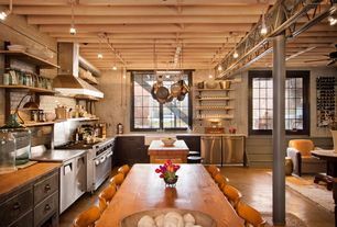 Rustic Kitchen with Stained/Sealed Concrete Floors, Breakfast bar, Stainless Steel, flush light, Farmhouse sink, L-shaped